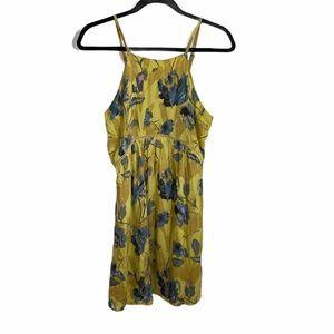 o'neill floral yellow halter swing dress